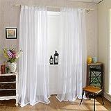 Cortinas de 100 x 200 cm, juego de 2 unidades, voile, blanco y suave, cortinas transparentes para dormitorio, decoración del hogar