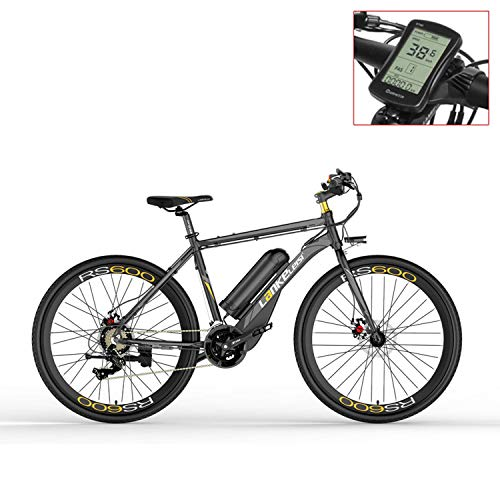 LANKELEISI RS600 700C Pedal Assist Electric Bike, 36V 20Ah Battery, 400W Motor, Aluminum Alloy Airfoil-shaped Frame,Both Disc Brake, 20-35km/h, Road Bicycle (Grey-LCD, Standard)