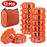 Tobfit 12 Pack LED Road Flares Emergency Lights Roadside Safety Beacon Disc...