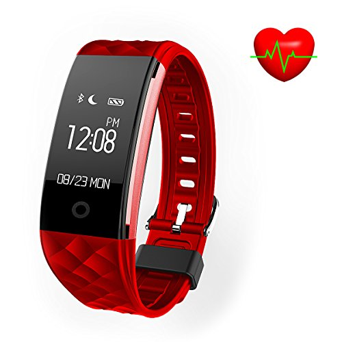 FUNSUO S2 Heart Rate Smart Bracelet IP67 Fitness Tracker for Android and iOS Smartphones (Red)