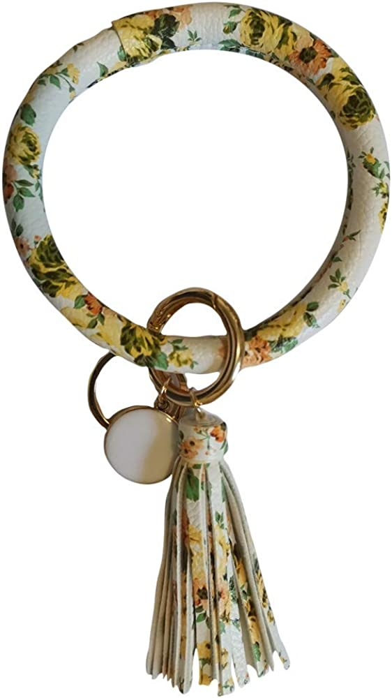 Key Ring Bracelets Wristlet Keychain Bangle Keyring, Large Tassel Leather Bracelet Holder For Women Girls Gift