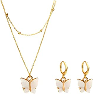 Picano Gold Color Women Butterfly Hoop Earrings Pendant Double Layer Necklace Statement Choker Necklace Jewelry Set Gifts