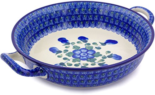 Polish Pottery Medium Round Baker with Handles made by Ceramika Artystyczna (Blue Poppies Theme) + Certificate of Authenticity