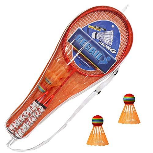 YUTK Badminton Set,1 Pair Badminton Rackets with Balls 2 Player Badminton Set for Children Indoor Outdoor Sport Game Badminton Metal Rackets for Children or Beginner Garden Exercise (Orange)