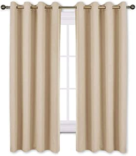 NICETOWN Bedroom Curtains Room Darkening Draperies - Biscotti Beige Room Darkening Drapes/Panels for Bedroom, Grommet Top 2-Pack, 52 x 63 inches Long, Thermal Insulated, Privacy Assured
