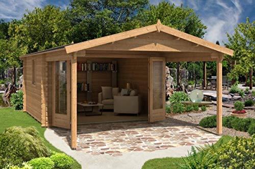 Caseta de madera de Alpholz Spessart de madera maciza | Caseta para dispositivos con 44 mm de grosor | Caseta de madera para jardín con material de montaje | Tamaño: 380 x