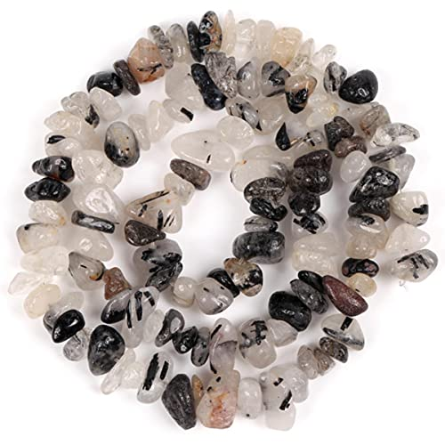 Irregular Freeform Chip Gravel Beads Natural Stone Amethysts Tiger Eye Beads for Jewelry Making 3-5-8-12mm DIY Necklace 16inches-Quartz Rutilated,5-8mm 16inches