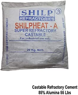 Castable Refractory Cement 85% Alumina Dense Castable, 55 Lbs