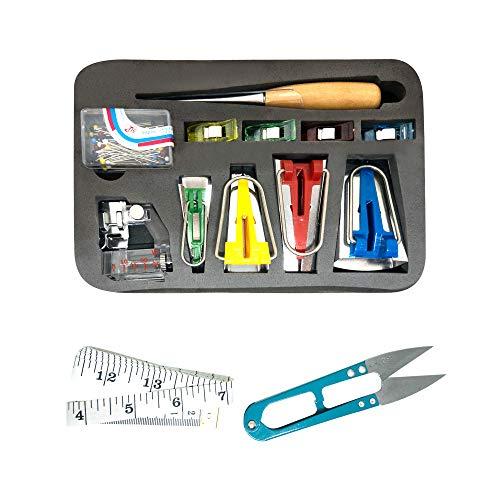Bias Tape Makers – DIY Bias Tape Kit - Sewing Bias Tape Maker Kit with Log Awl, Bordures, Small Envelope Clips, Binder Foot, Pins, Scissors and Measuring Tape – 6MM 12MM 18MM 25MM Bordure Size