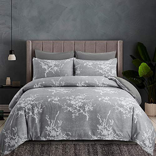 oentyo 3 Pieces Floral Duvet Cover Queen Size Sets,Soft Microfiber Gray White Branch Plum Blossom Flower Pattern Printed Bedding Set with Zipper Corner Ties,1 Duvet Cover 2 Pillowcase (Gray,Queen)