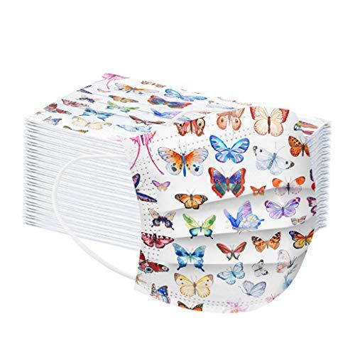 Amuse-MIUMIU 50 Stück Erwachsene Einweg 3-lagig,Face Cover Shield mit Bunter Schmetterling Druckmuster,Staubs-chutz Atmungsaktive Mund Bedeckung,Elastic Ear Loop Bandana Face-Mouth Cover für Damen