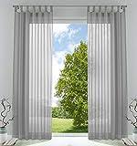 2er-Pack Gardinen Transparent Vorhang Set Wohnzimmer Voile Schlaufenschal mit Bleibandabschluß HxB 245x140 cm Grau, 61000CN