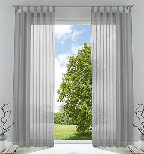 2er-Pack Gardinen Transparent Vorhang Set Wohnzimmer Voile Schlaufenschal mit Bleibandabschluß HxB 225x140 cm Grau, 61000CN