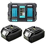 Cargador doble 4A DC18RD con 2 baterías de 18 V 5,0 Ah para radio Makita DMR1108, DMR109, DMR110, DMR111, DMR112, DMR113, DMR114 DMR115 [para Makita BL1830 BL1840 BL1850 Radio de obras. Herramientas.