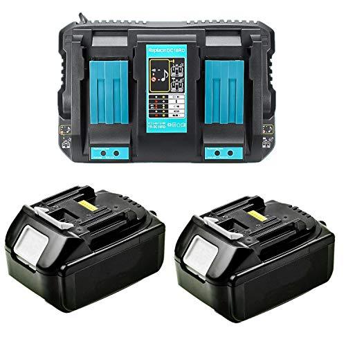Cargador doble 4A DC18RD con 2 baterías de 18V 5,0Ah para radio Makita DMR1108, DMR109, DMR110, DMR111, DMR112, DMR113, DMR114 DMR115 [para Makita BL1830 BL1840 BL1850 18V Radio Batería]