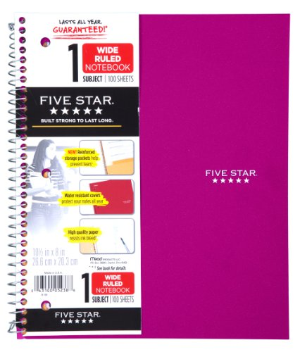Five Star Wirebound Notebook, 1-Subject, 100 Wide-Ruled Sheets, 10.5 x 8 Inch Sheet Size, Pink (72013)
