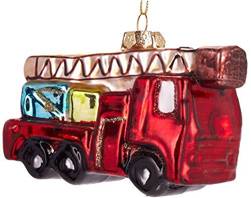 Brubaker Feuerwehrauto Rot - Handbemalte Weihnachtskugel aus Glas - Mundgeblasener Christbaumschmuck Figuren lustig Deko Anhänger Baumkugel - 10 cm