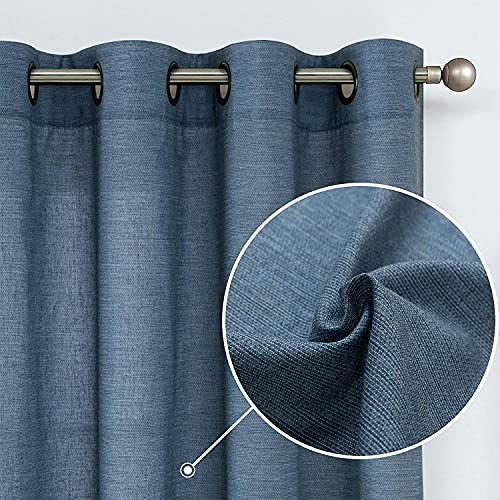 jinchan Linen Cotton Blend Curtains for Living Room Long Window Curtains Privacy Flax Linen Look Window Treatment Set for Bedroom Grommet Top 2 Panels 95 inches Blue