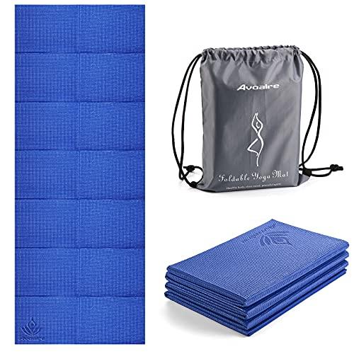 Avoalre Esterilla de Yoga Antideslizante Plegable 183x80CM, Colchoneta Yoga PVC Antideslizante 6MM de Grosor Fácil de Doblar para Fitness Ejercicio Pilates Deportes para Mujer Hombre Niño, Azul