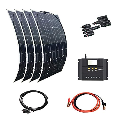 XINPUGUANG kit de batería solar flexible 4pcs 100W 18V módulo fotovoltaico de silicio monocristalino + controlador 30A + cable cargador de batería 12v (400w) para caravana RV
