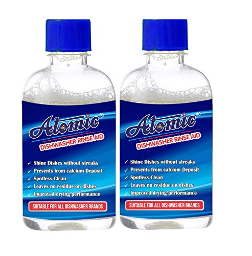 Atomic Dishwasher Rinse Aid Liquid For Shiner & Dryer Dishes Sparkling with Lemon Fresh and Give fortune of finish to Crockery- 400 ML (PACK OF 2)