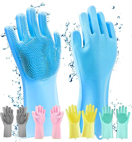 Alciono Magic Silicone Dishwashing Cleaning Gloves with Scrubber for Washing Dish ,Kitchen utensil ,Car ,Bathroom floor ,toilet ,sofa Wet & dry Cleaning -Multicolor, Pack Of 1