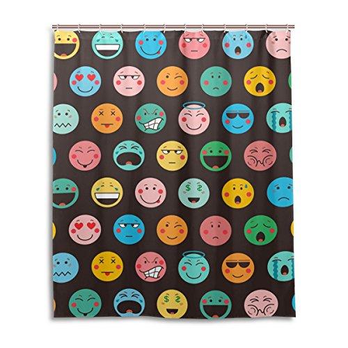 jstel Decor Vorhang für die Dusche dark Emoji-Icons Muster Print 100% Polyester Stoff Vorhang für die Dusche 152,4x 182,9cm für Home Badezimmer Deko Dusche Bad Vorhänge