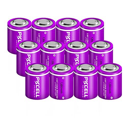 1/2AA Size 3.6V Lithium/SOCL2 Batteries ER14250 Non-Rechargeable 1200mAh Lithium Battery Count:Pcs 12