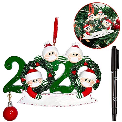 Whaline Personalized Christmas Hanging Ornaments 2020 Family Name Decoration Kit DIY Family Member of 4 Creative Gift with Marker Pen for Family Home Xmas Tree D¨¦cor