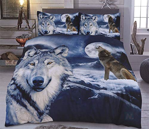 Northern Luxe 3D Animal Effect for Childrens and Adults Printed Duvet Cover set with Pillow Cases Quilt Bedding Set (Wolf, Double)
