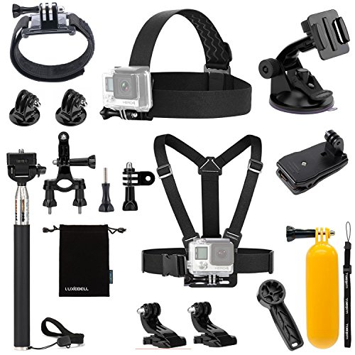 Luxebell Sport camera Accessories Kit for Gopro Hero 5 4 3+ 3 2 1, Action camera Sjcam AKASO WiMiUS Campark Lightdow DBPower VicTsing Aokon (8-in-1)