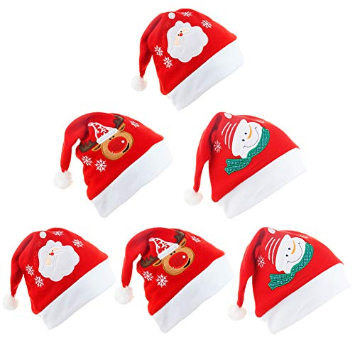 FANDE 6 Pieces of Christmas Hats, adult and children Christmas Party Hats, Cute Snowman Reindeer Pattern, Comfortable Flannel hat, Snowman Plush Santa hat suitable for Christmas Party