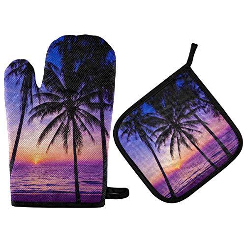Juego de manoplas y agarraderas para horno Palm Tree Sunset, resistente al calor, encimera de cocina, alfombrillas segurasGuantes Agarre antideslizante para de barbacoa Horno de cocción Horno
