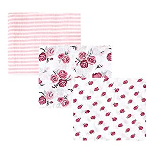 crib bedding and baby bedding hudson baby unisex baby cotton muslin swaddle blankets, rose 3-pack, one size