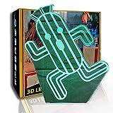 JINYI Luce notturna a LED Cartoon Cactus, lampada da notte 3D Illusion, arredamento camera, C- Touch Crack White (7 colori), Luci colorate, Regalo di San Valentino, Lampada per illusione ottica