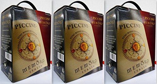 3 x PICCINI MEMORO ROSSO ITALIEN Bag in Box 3L Incl. Goodie von Flensburger Handel