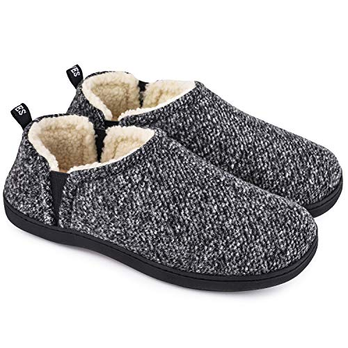 Snug Leaves Men's Fuzzy Wool Felt Memory Foam Slippers Anti-Slip Warm Winter Faux Sherpa Indoor Outdoor House Shoes with Dual Side Elastic Gores (Size 7-8 M, Black)
