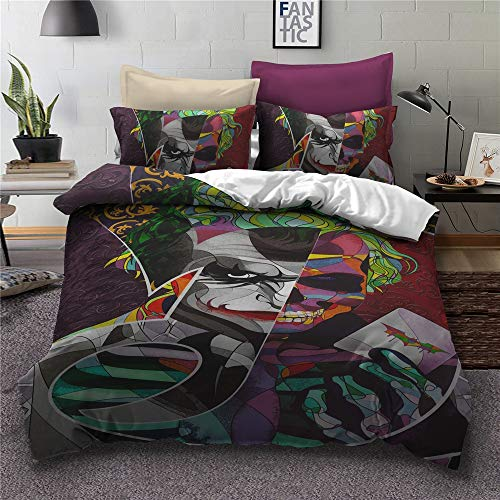 Clown Make-up Dekbedovertrek 3D Bedding Enge Killer Horror dekbedovertrekken/lakens/kussenhoezen, Single/Double/King Size,D,220x240cm
