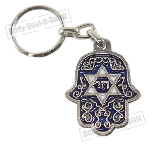 Chai & Davidsstern Schlüsselanhänger Glückbringer Israel Gebet des Reisenden