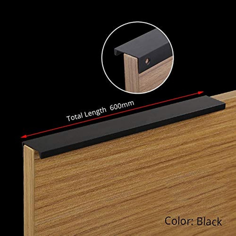 KAK 5pcs lot Black Hidden Cabinet Handles Zinc Alloy Kitchen Cupboard Pulls Drawer Knobs Furniture Bedroom Door Handle Hardware  (color  Black Length 600mm)