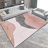 La alfombras Alfombra Comedor Alfombra Lavable de diseño Simple Rosa Negro Gris fácil de Limpiar Alfombra Chimenea Rugs for Living Room 50*120CM