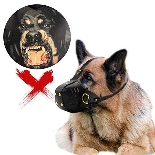 WXJHA Bozal para Perro, Boca Grande para Perro, máscara de Rottweiler de Cuero de Viento Punk, Ajustable, Jaula de mordida prohibida, Evitar morder y Comer
