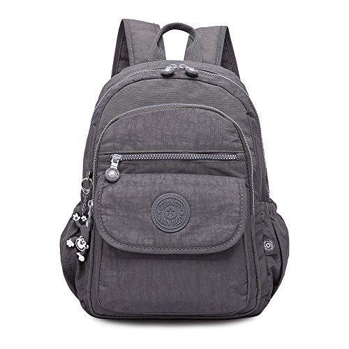 Gurscour Lightweight Nylon Backpack Travel SchoolBag Laptop College School Backpack Shoulders Bag Rucksack Travel Daypack 1503-grey