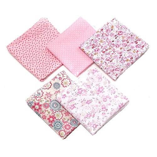 Ototon 5 Piezas cuadradas de Tela de algodón con diseño de Flores Textiles para Niña Coser Bolsa de Regalo Bricolaje 50x50cm