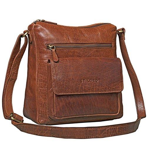 STILORD Vintage Umhängetasche für Damen Schultertasche Handtasche Ausgehen Freizeit Abendtasche Büffel Leder glänzend braun