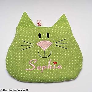 Wärmekissen mit Namen: grüne Katze.