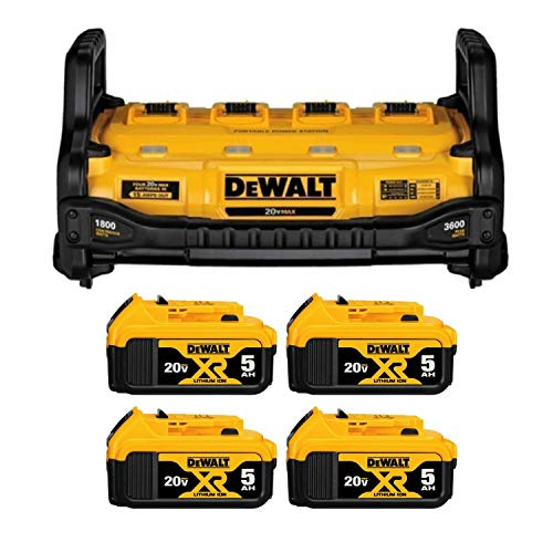 DEWALT DCB1800B Portable Power Station With 4 DCB205 20V MAX XR 5.0Ah Batteries