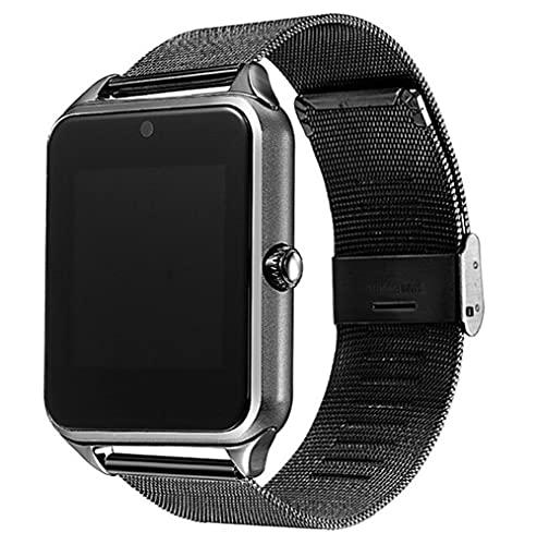 Reloj inteligente con pantalla táctil, monitor de ritmo cardíaco, monitor de sueño, cámara Bluetooth, reloj inteligente para hombres y mujeres (color negro, tamaño: con caja original)