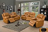 Ainehome Furniture 3PC Sectional Sofa Living Room Office Sofa Set Drop Down Table Bonded Leather Motion Sofa Loveseat Manual Reclining Chair 3 Seater Couch (Ginger,3 Piece Set)