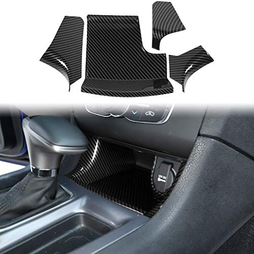 Voodonala for Charger Center Consoles Gear Shift Storage Trim Panel for 2011-2019 Dodge Charger, ABS Carbon Fiber 4pcs